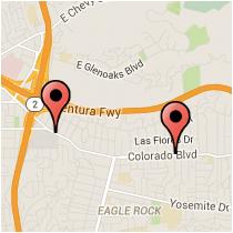 Map: Sierra Villa Drive to La Roda Avenue