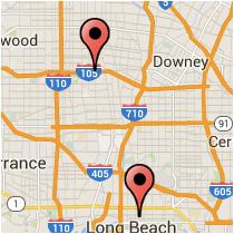 Map: Bellflower Boulevard to Wilmington Avenue