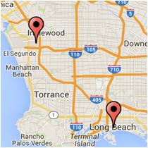 Map: Long Beach Blvd to Aviation Blvd