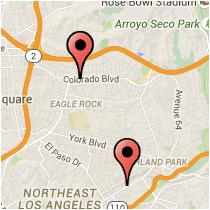 Map: Colorado Boulevard to Avenue 56