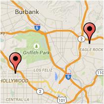 Map: Colorado Blvd to Hollywood Blvd