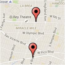 Map: La Brea Avenue to Wilshire Boulevard