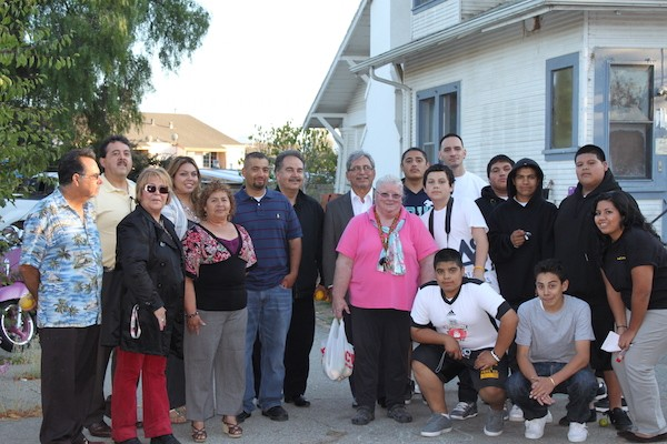Owner of Acosta Plaza with residents