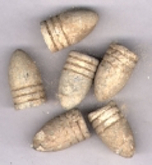 Union .58 caliber Minié Ball bullets, which would have been shot out of a Civil War rifle