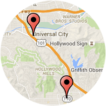 Map: Hollywood Blvd to Lankershim Blvd