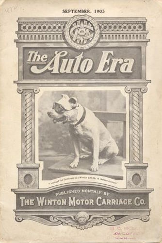 Cover of The Auto Era, featuring Bud the dog, a passenger on an early cross-country automobile trip