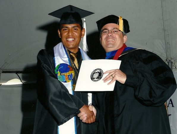 Brown salinas Angel at his college graduation