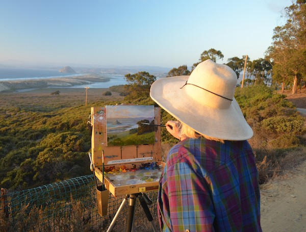 The author painting at Morro Bay