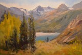 Winters MAIN South Lake Bishop oil painting 2013 with water - K Winters