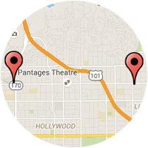 Map: Highland Avenue to Hollywood Boulevard