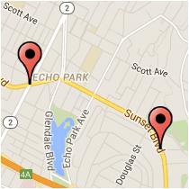 Map: Elysian Street to Sunset Boulevard