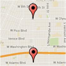 Map: Olympic Boulevard to Adams Boulevard