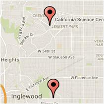 Map: Martin Luther King Blvd to Crenshaw Blvd