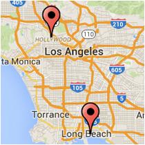 Map: Orange Avenue to Hollywood Boulevard