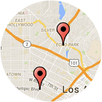 Map: Alvarado Street to Olympic Boulevard
