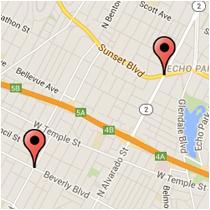 Map: Sunset Boulevard to Rampart Boulevard