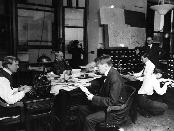 AP staffers at work in New York City headquarters, 195 Broadway, ca. 1912. (AP Photo)