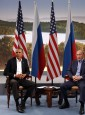 U.S. President Barack Obama (L) meets with Russian President Vladimir Putin during the G8 Summit at Lough Erne in Enniskillen,  Northern Ireland June 17, 2013.   REUTERS/Kevin Lamarque   (NORTHERN IRELAND - Tags: POLITICS) - RTX10R8V