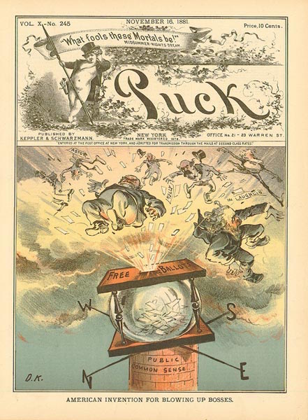 """Illustration from Puck, November 16, 1881, """"American Invention for Blowing Up Bosses."""""""