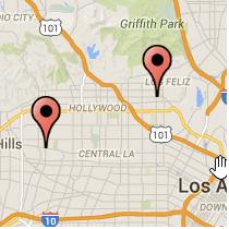 Map: Sunset Boulevard to Fairfax Avenue