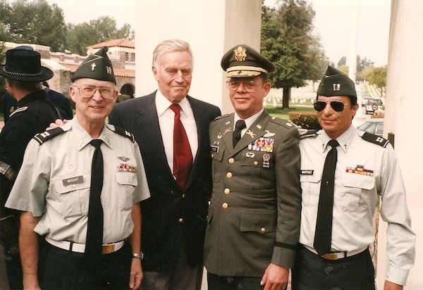 Captain Ed Wright, Charlton Heston, Colonel Patrick Field, and Rick Martinez at Los Angeles National Cemetery (1985 or 1986)