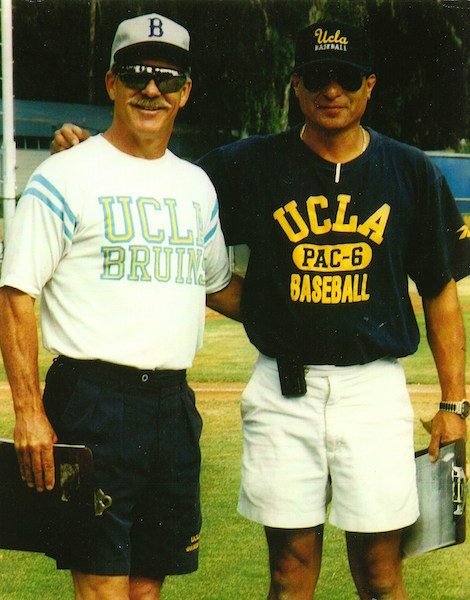 UCLA baseball coach Gary Adams and Rick Martinez (1985 or 1986)