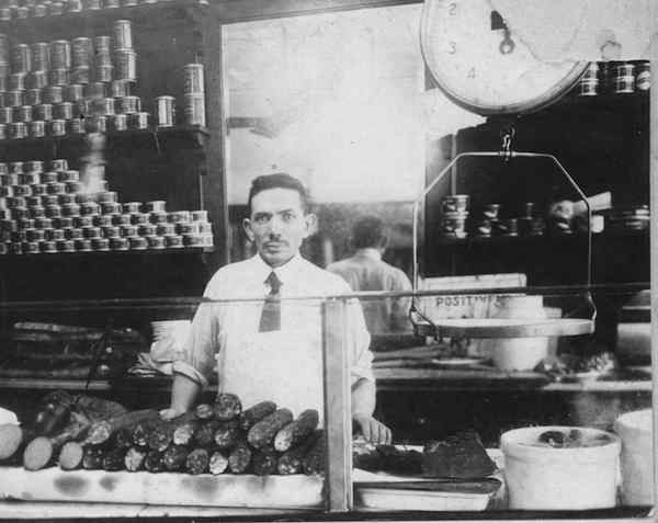 Morris Wepner and his deli in East Harlem, 1920