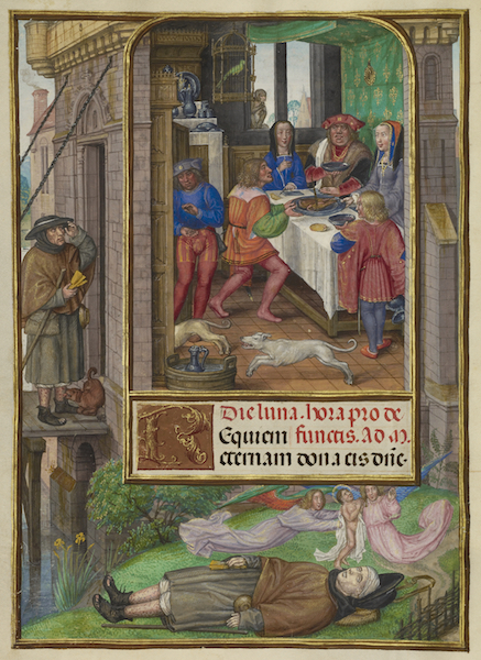 The Feast of Dives, Master of James IV of Scotland, Spinola Hours, Bruges and Ghent, 1510-20, The J. Paul Getty Museum, Ms. Ludwig IX 18, fol. 21v