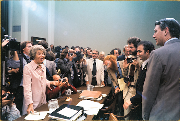 McGrory at Watergate Hearings: Mary McGrory Papers/Library of Congress