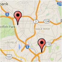 Map: Vine Street - Pasadena Avenue
