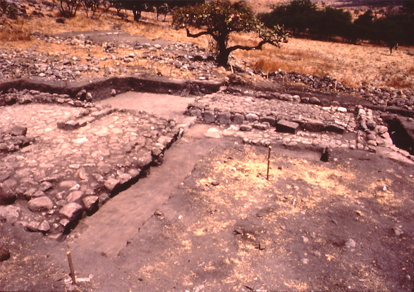 Wall foundations of Aztec peasant houses the author excavated at the site of Capilco.