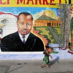 MLK jr. mural at Illa Family Market, 50 Place and South Vermont Avenue, Los Angeles, 2004