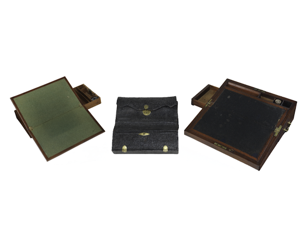 Like the laptops and mobile devices of today, these 18th-century writing boxes—belonging, from left to right, to Thomas Jefferson, George Washington, and Alexander Hamilton—were portable bases from which to communicate.