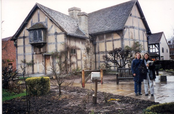 On a typically rainy English day, the author (at right) visits Shakepeare's house in Stratford-Upon-Avon.
