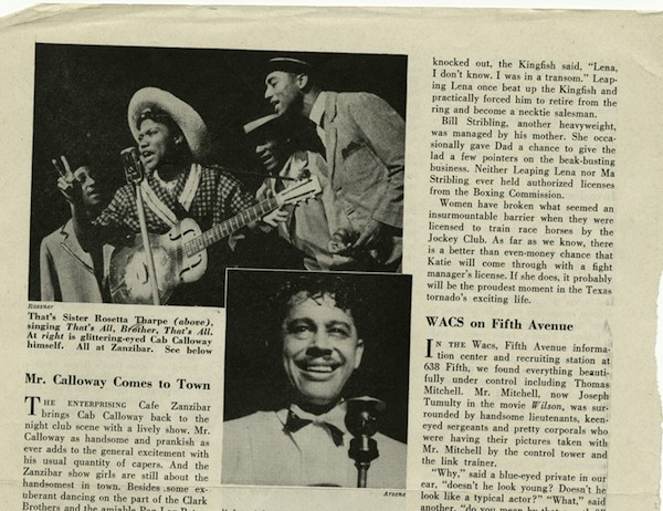 Newspaper coverage of Rosetta Tharpe performing in 1944.