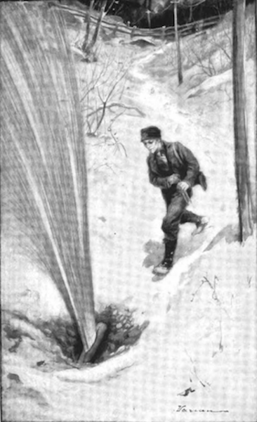 Illustration of a pipeline break from Ida Tarbell's influential 1904 book, The History of the Standard Oil Company.