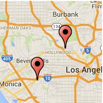 Map: Washington Boulevard - Hollywood Boulevard