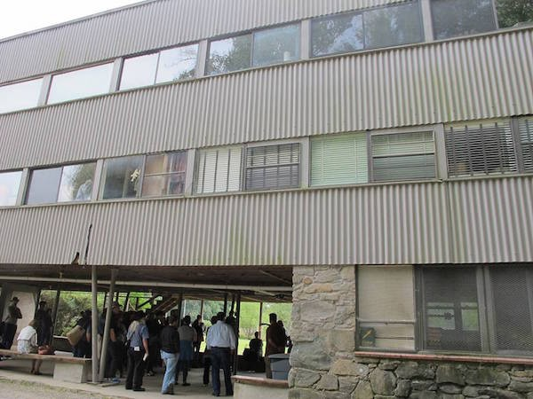 A photograph of the Studies Building at Black Mountain College on a 2014 tour.