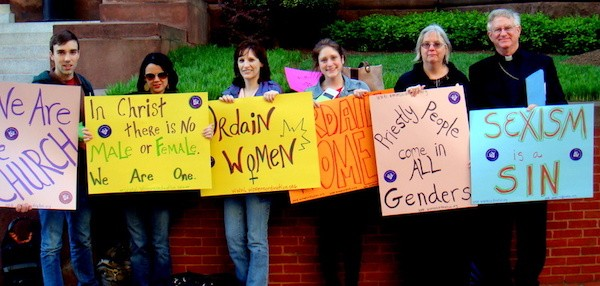 A vigil held in 2012 by the Women's Ordination Conference outside Washington D.C.'s Cathedral of St. Matthew the Apostle.
