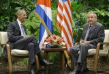 President Barack Obama meets with Cuban President Raul Castro at the Palace of the Revolution, Monday, March 21, 2016 in Havana, Cuba. (AP Photo/Pablo Martinez Monsivais)