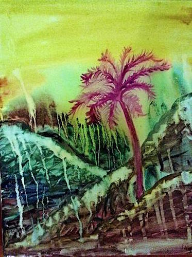 One of Osborne's Cry me a river California paintings, a series of watercolors encapsulated in glass resin.