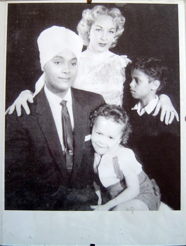 Korla Pandit with his wife and children.