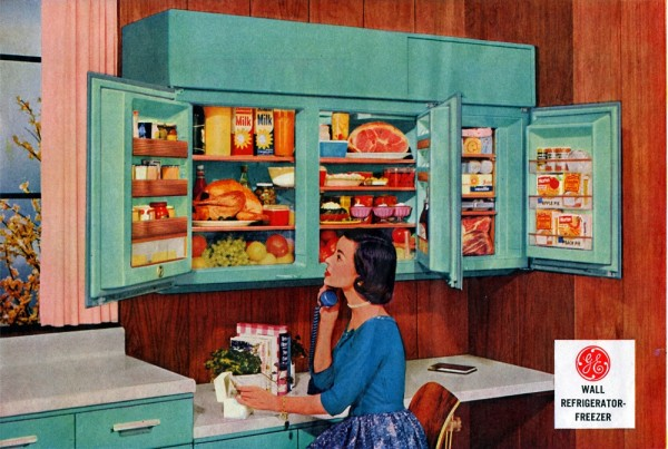Ad for a wall-mounted refrigerator, 1956