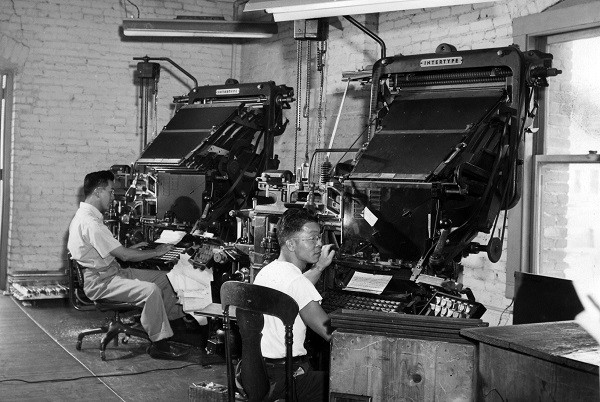An archival image of The Rafu Shimpo's typesetters