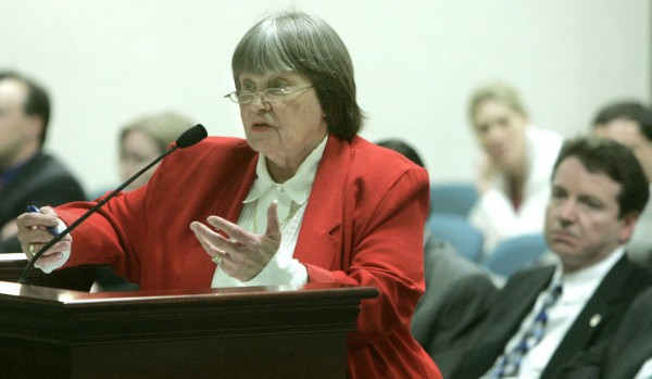 Marion Hammer, left, former President of the National Rifleman's Association, speaks to the House Judiciary committee about the firearms/motor vehicles bill, Tuesday, April 4, 2006, in Tallahassee, Fla.