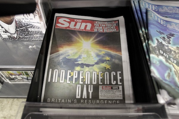 The front page of the Sun newspaper reporting on the EU referendum on a London news stand on June 23, 2016.
