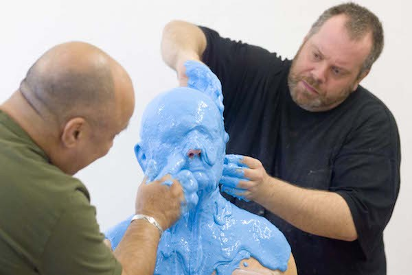 The making of Lewis' cast head.