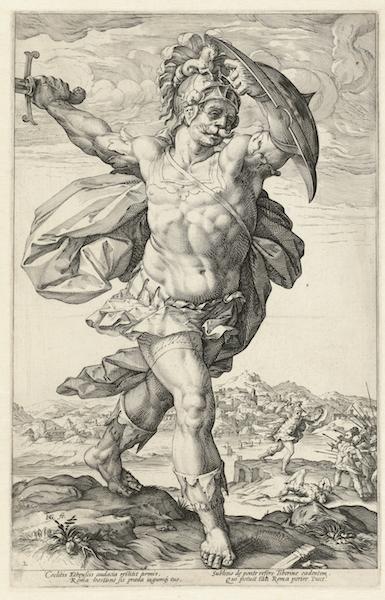 Horatio Cocles, 1586, Hendrick Goltzius. Engraving.