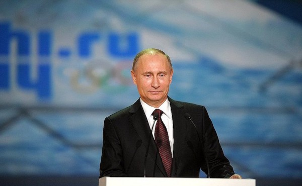 Vladimir Putin attends the celebration marking the one-year countdown to the Sochi 2014 Winter Olympics.