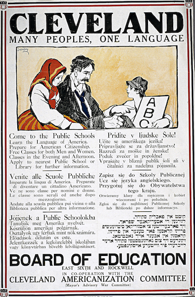 A 1917 poster from the Cleveland Board of Education's Americanization Committee.